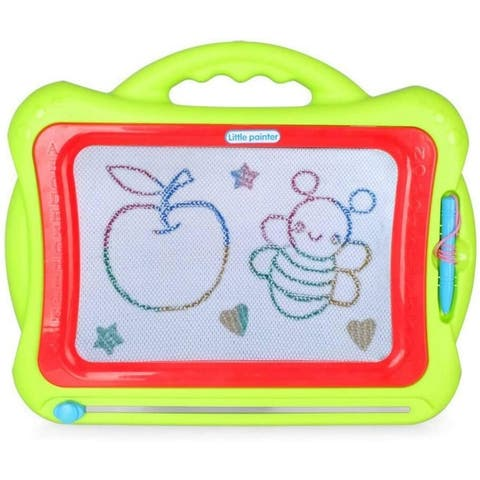 Toyvelt Magna Doodle Magnetic Drawing Board Pad - 16 Inch Large Writing Board With Stamps Extra Travel Doodle Included - Green