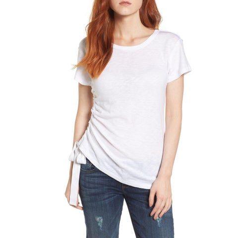 Caslon Crisp White Womens Size Large L Shirred Sheer Tee-Shirt Top