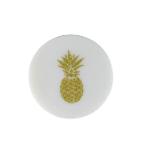 Set of 4 White and Gold Glittered Pineapple Tropical Coasters with Cork Backing 4 - N/A