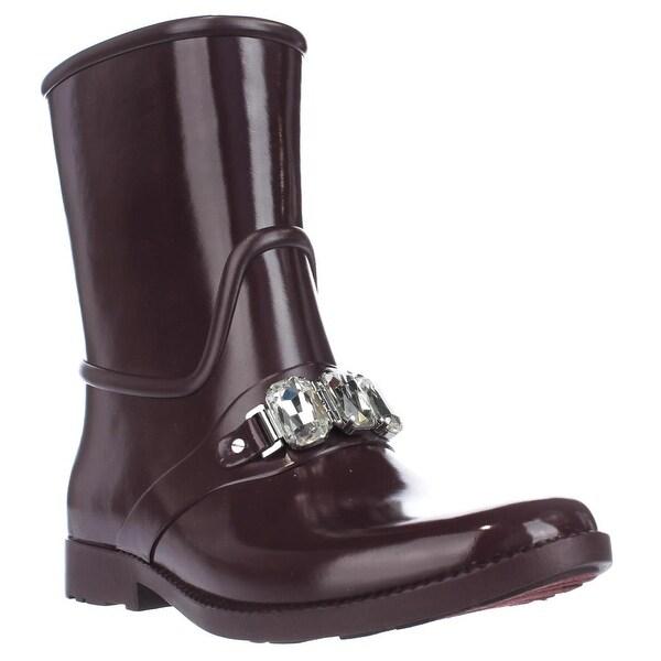 MICHAEL Michael Kors Leslie Rain Bootie Mid-Calf Rain Boots, Plum