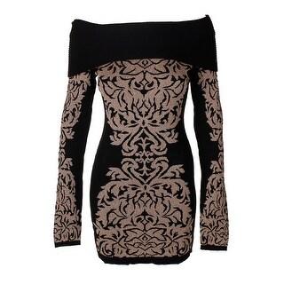 Inc International Concepts Black Gold Metallic Off-The-Shoulder Sweater M