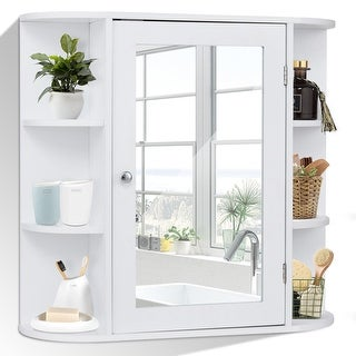 Costway Multipurpose Mount Wall Surface Bathroom Storage Cabinet Mirror White Finish Free Shipping Today 20461949
