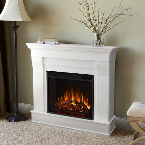 Chateau Electric Fireplace in White - 40.94L x 11.81W x 37.6H