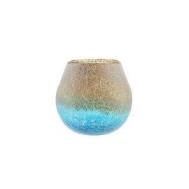 """6"""" Azure Blue Crackled and Brown Frosted Hand Blown Decorative Glass Vase"""