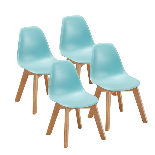 Vecelo Dining Chairs Modern Style Wood Leg Polyurethane Chair For Kids Set Of 4