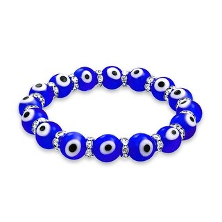 Evil Eye 10mm Blue Stretch Crystal Bracelet Silver Plated