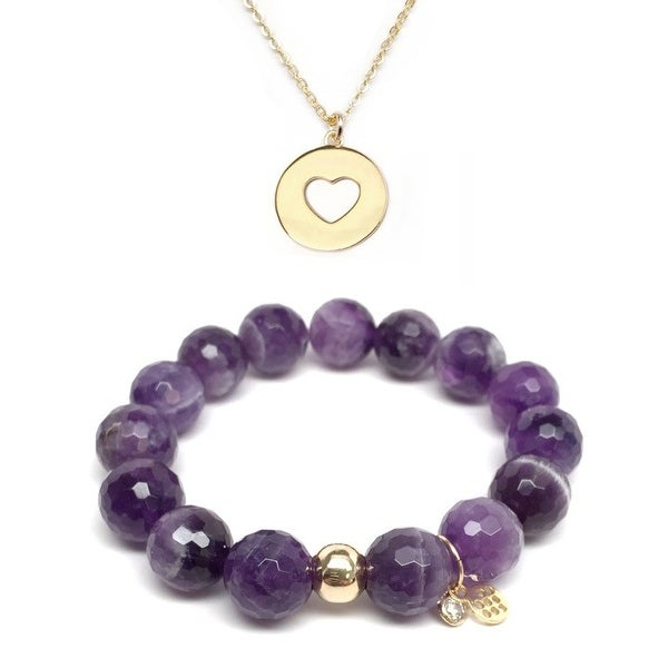 "Purple Amethyst 7"" Bracelet & Heart Disc Gold Charm Necklace Set"