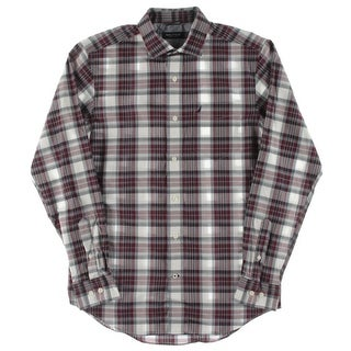 Nautica Mens Plaid Long Sleeves Button-Down Shirt