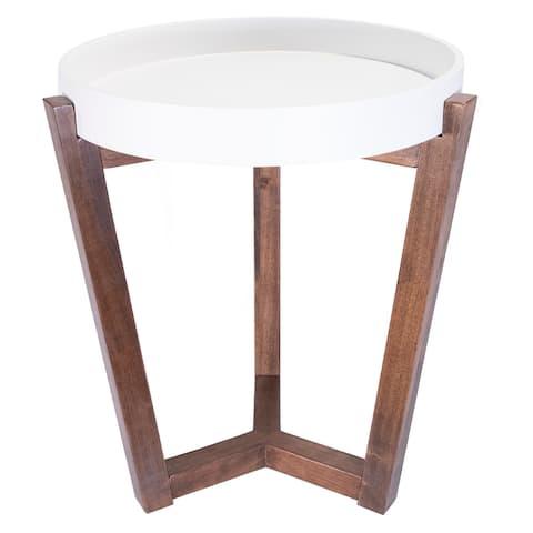 Carson Carrington Vamb Modern Wood Round Accent Table