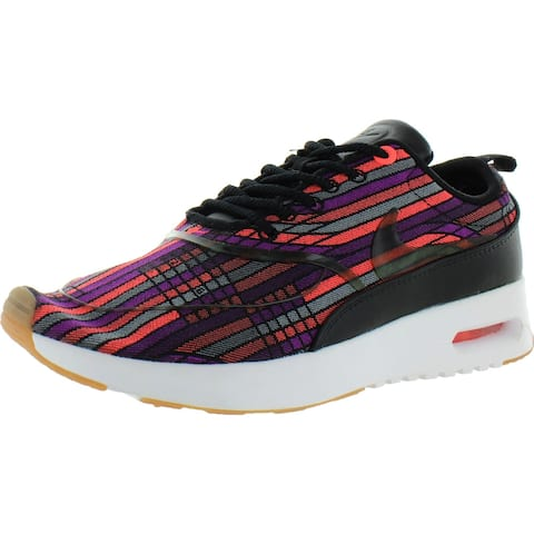Nike Womens Air Max Thea Ultra Sneakers Logo Embroidered - Black/Black-Gum/Yellow-White