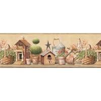Brewster CTR63142B Shandi Brick Bird Hill Border Wallpaper - brick bird - N/A