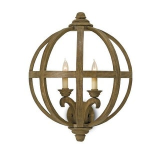 Currey and Company 5095 Axel 2 Light Wall Sconce with Wooden Orb