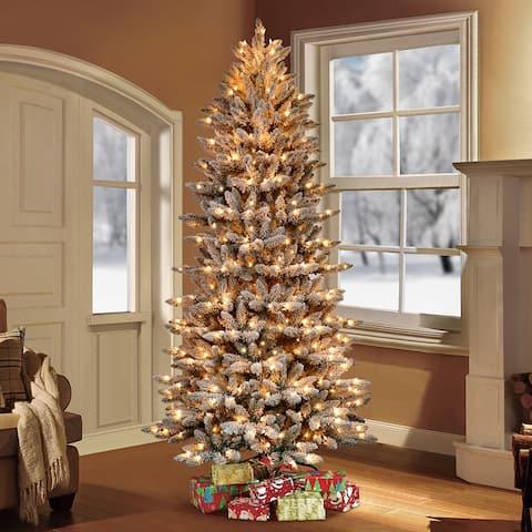 Puleo International 7.5 ' Pre-Lit Flocked Slim Fraser Fir Artificial Christmas Tree with 500 UL Clear Lights