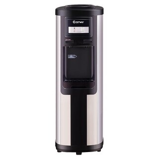 Costway Top Loading Stainless Steel Water Cooler Dispenser Cold Hot 5 Gallon Home Office - Black