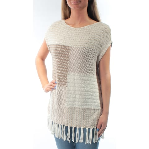 AMERICAN LIVING Womens Beige Fringed Sleeveless Jewel Neck Sweater Size: XS