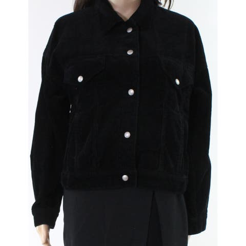 Blank NYC Black Women Size XS Corduroy Dual Pocket Button Up Jacket