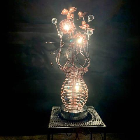 "Dazzling 24"" Copper Metal Floral 3-Light Showpiece"