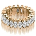 5.75 cttw. 14K Rose Gold Marquise Diamond Eternity Ring - Thumbnail 0