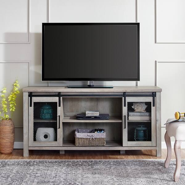 "TV Stand Entertainment Center for TV/'s up to 65/"" with Sliding Mesh Doors Walnut"