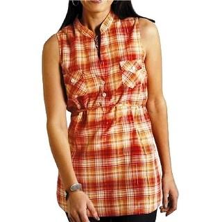 Roper Western Shirt Womens Sleeveless Tank Orange