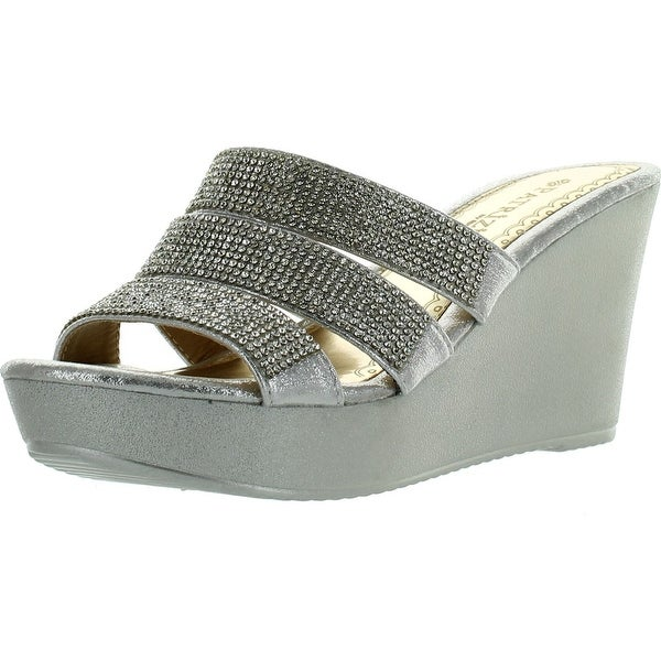 Patrizia Womens Cinderella High Heel Wedge Platform Sandals - Silver