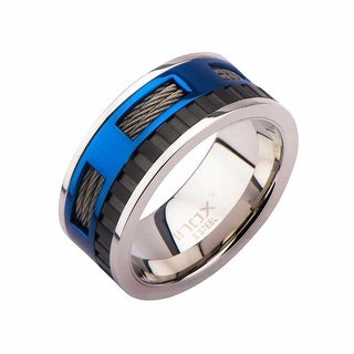 Inox Stainless Steel Blue IP Window & Black Groove in Cable Steel Ring..Availabe Sizes: 9-13.
