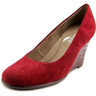 Aerosoles Plum Tree Women Open Toe Synthetic Burgundy Wedge Heel