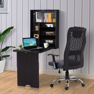 Link to HOMCOM Compact Fold Out Wall Mounted Convertible Desk With Storage, Espresso Brown Similar Items in Computer Desks