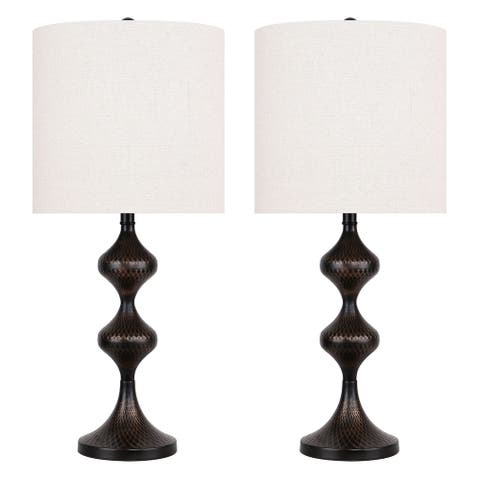 "23"" Metal Table Lamp w/ Geometric Textured Geometric Base & Linen Shade (Set of 2)"