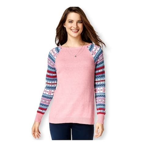 American Living Womens Fair-Isle Sleeves Pullover Sweater, Pink, XX-Large
