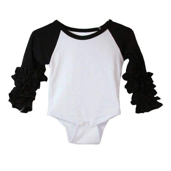 Baby Girls Black White Ruffle Cuff Crew Neck Long Sleeve Bodysuit 0-3M