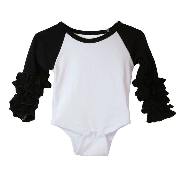 Baby Girls Black White Ruffle Cuff Crew Neck Long Sleeve Bodysuit 6-9M