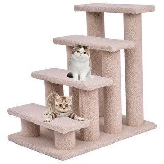 Gymax Beige Cat Climber Kitten Steps Pet Stairs Ramp Multi-Platform with 8 Posts