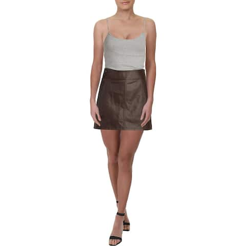 Free People Womens Retro Mini Skirt Faux Leather Short