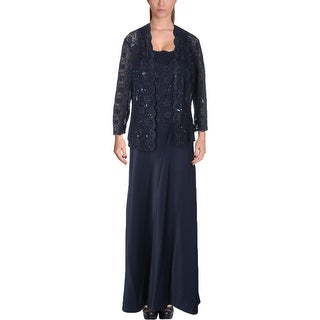 Alex Evenings Womens Dress With Jacket Lace Sequined - 8