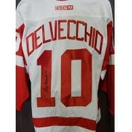 Signed Delvecchio Alex Detroit Red Wings Detroit Red Wings Replica Jersey Size Large autographed