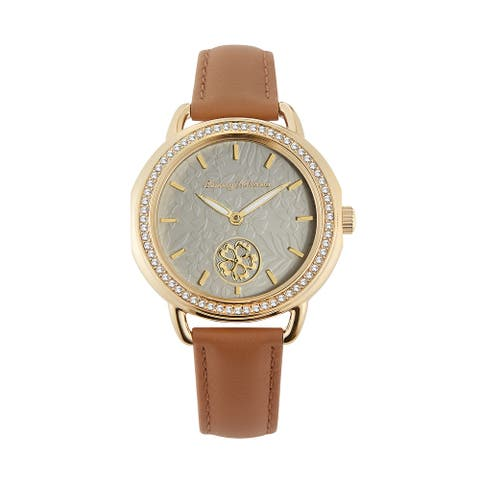 Tommy Bahama Women's Spinning Flower Crystal Accent Brown Leather Strap Watch