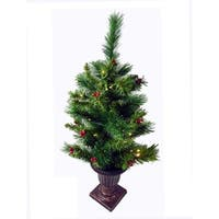 2.5' Pre-Lit Potted Battery Operated LED Lighted Dew Berry Christmas Tree