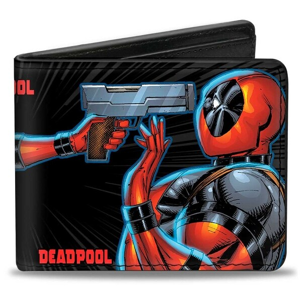Lady Deadpool + Deadpool Face Off Black Gray Red Bi Fold Wallet - One Size Fits most