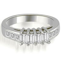 1.00 cttw. 14K White Gold Channel Princess and Emerald Cut Diamond Wedding Band