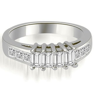 1.00 ct.tw Unique 14K White Gold Channel Princess and Emerald Cut Diamond Wedding Band HI, SI1-2