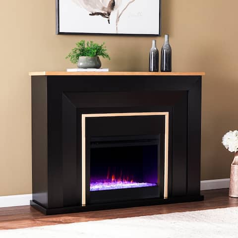 Strick & Bolton Cantara Industrial Black Wood Color Changing Fireplace