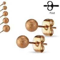 Pair of Sparkling Sand Blast Finish Ball Stainless Steel Stud Earrings - 5mm