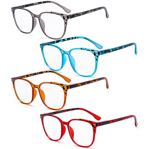 Eyekepper Ladies Reading Glasses 4 Pack Large Square Reader for Women