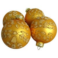 Pack of 4 Extravagant Orange Glitter Flower Glass Ball Christmas Ornaments 2.5""