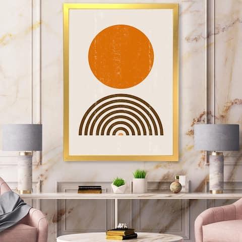 Designart 'Abstract Minimal Orange Sun and Rainbow I' Modern Framed Art Print