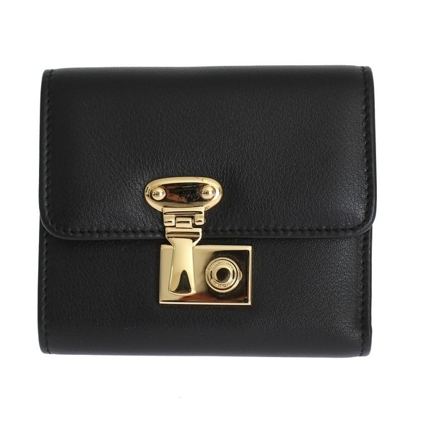Dolce & Gabbana Black Leather Gold Lock Trifold Wallet - One size