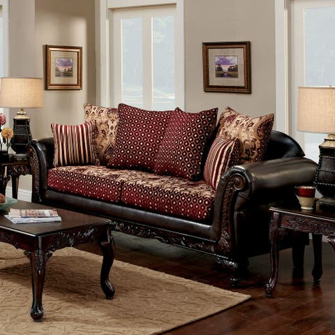 Furniture of America Mestra Traditional Brown Upholstered Sofa