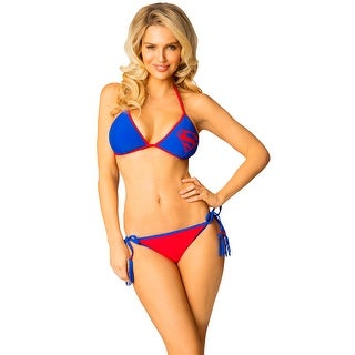 DC Comics Superman Classic Logo String Bikini Swimsuit with Tassels