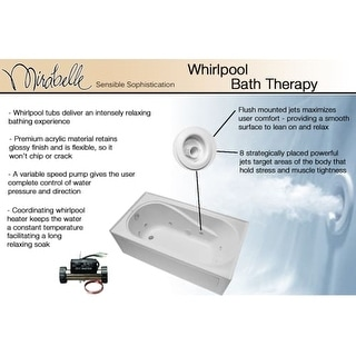 "Mirabelle MIRBDW6032 Bradenton 60"" X 32"" Drop-In Whirlpool Tub with Reversible Drain"